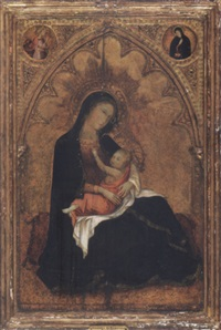 madonna of humility with the archangel gabriel and the virgin annunciate above by andrea di bartolo