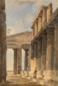 griechischer tempel (+ orientalische küstenstadt, 1870, lrgr; 2 works) by gustav von gasteiger