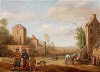 eine dorfszene mit reisenden und bauern auf einer strasse by cornelis droochsloot