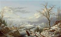 winterliche gebirgslandschaft by albert-alexandre lenoir