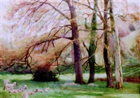 sheep grazing in sunshine by william henry charles groome