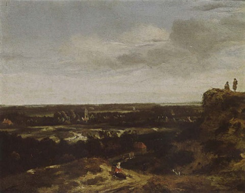 an extensive dune landscape with a woman resting in the foreground and a view of the village beyond by john van der vaart