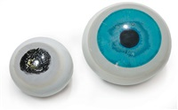 rares sculptures boules formant oeil avec inclusions représentant iris et pupilles (set of 2) by p. godelski