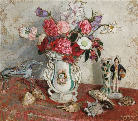 Summer Bouquet In A Porcelain Vase With Shells And Ornaments 1927 By