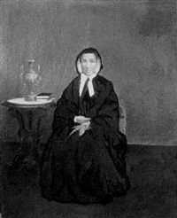 portrait of a woman seated in an interior by yeuqua