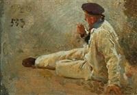 portrait of a resting sailor by erik ludwig henningsen