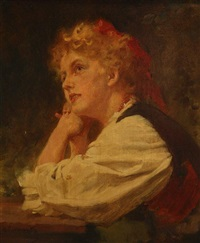 blonde junge frau in tracht by hermann clementz