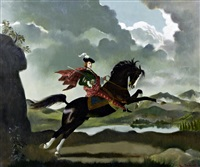 bonnie prince charlie on horseback before a loch landscape by doris clare zinkeisen
