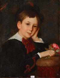 jeune garçon à la rose by léon herbo