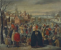 a winter landscape with skaters on a frozen river by denis van alsloot