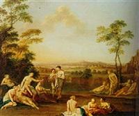 nymphs bathing in a landscape by louis auguste le clerc
