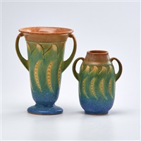 green falline vases: two-handled flared rim and two-handled cabinet vase (2 works) by roseville