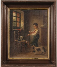 boy amusing cat and dog with marionette by jean-paul haag