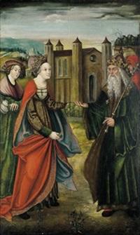 zwei heilige mit einer stifterin, die auf der kopfbedeckung den namen meran trägt by austrian school-tyrolean (16)