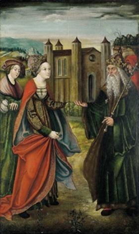 zwei heilige mit einer stifterin die auf der kopfbedeckung den namen meran trägt by austrian school tyrolean 16
