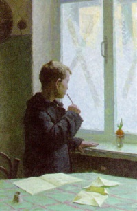 boy by the window by ivan kuzmich sobakin