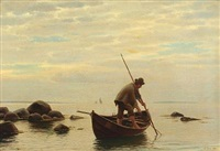 coastal scenery with a fisherman in his boat by anton laurids johannes dorph