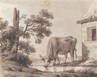 a cow drinking from a stream by anthony andriessen