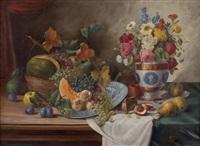 früchtestillleben mit blumenstrauß in vase by alois zabehlicky