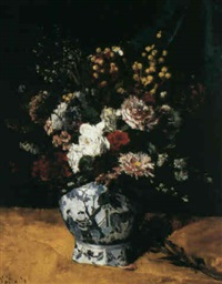 still life with flowers in a pot by françois martin