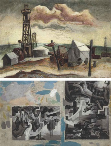 camp with oil rig by jackson pollock