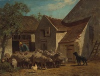 a shepherd with his flock outside farm buildings by charles jacques