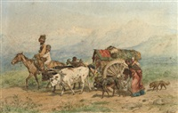 travellers in a caucasian landscape by konstantin nikolaevich filippov
