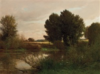 summer landscape by emile charles lambinet