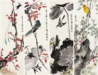 四时珍禽 (四帧) (4 works) by jiang hanting
