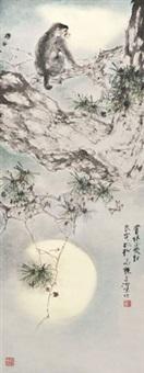 月色松猿玉面 立轴 设色纸本 by yang shanshen