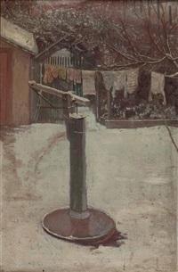 winterlicher hinterhof mit pumpe und aufgehängter wäsche by max kahrer