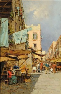 strada paesana con bancarelle by giuseppe pitto