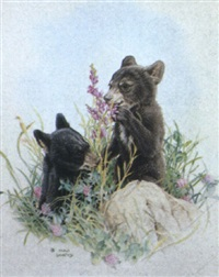 two bear cubs by martin glen loates