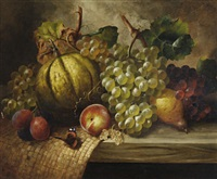 still life of fruit and a butterfly by william harding smith