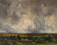 landschaft mit gewitterwolken by toni von stadler