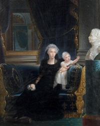 portrait de la duchesse de berry et sa fille louise marie thérèse (after françois joseph kinson) by jean baptiste joseph autrique
