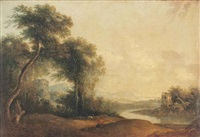 a wooded river landscape with a drover and his herd at rest, ruins beyond by richard wilson