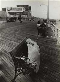 coney island (man sleeping on bench), july 4 by robert frank