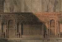 screen to the tomb of edward the confessor, westminster abbey, london by joseph michael gandy