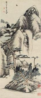 松崖图 by bada shanren