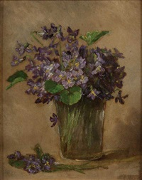 violets in a glass by anna eliza hardy