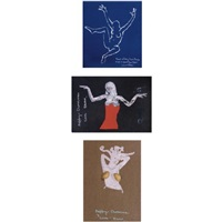 a collection of christmas cards (9 works) by euan uglow