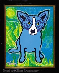 blue dog under the night sky with oak by george rodrigue