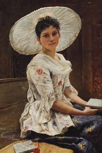young beauty in a white hat by franz xavier simm