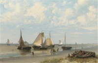 early morning: fishermen preparing for departure by maurits verveer