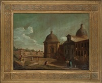 an italian baroque town with figures conversing in a square by a church by francesco battaglioli