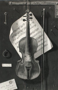 violin hanging on a wall by w.g. becker