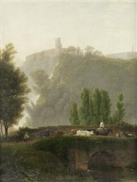 a view of tivoli with drovers crossing a bridge in the foreground by jean victor bertin
