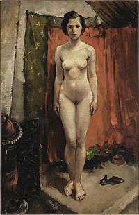 a standing nude (+ seated girl with doll, verso) by harry maas