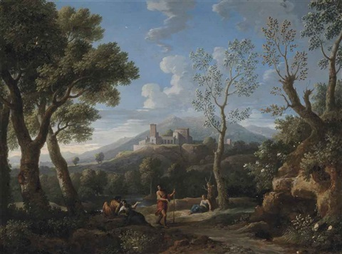 an extensive landscape with classical figures at rest a hill top town beyond by jan frans van bloemen